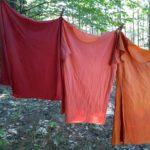 All dyed in onion skins and then over-dyed in cochineal for varying amounts of time.