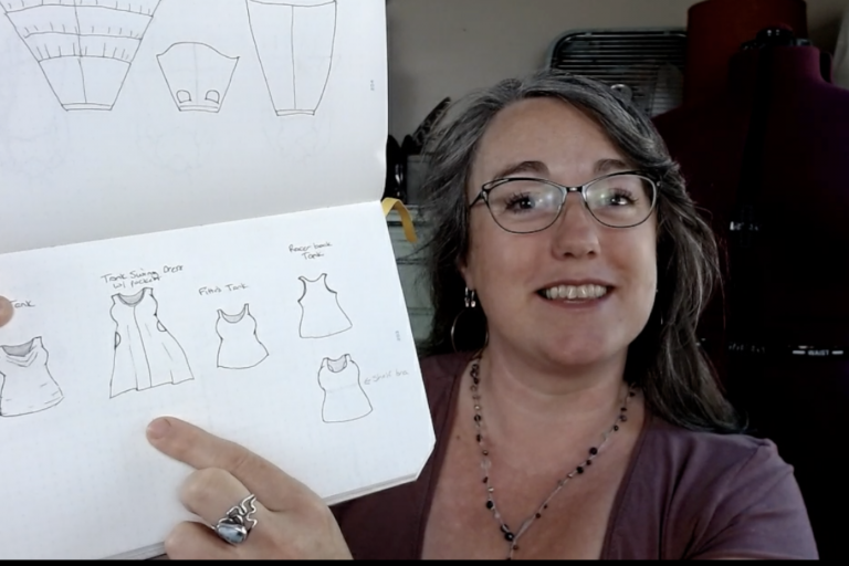 …and making a t-shirt pattern into a racerback tank with a shelf bra