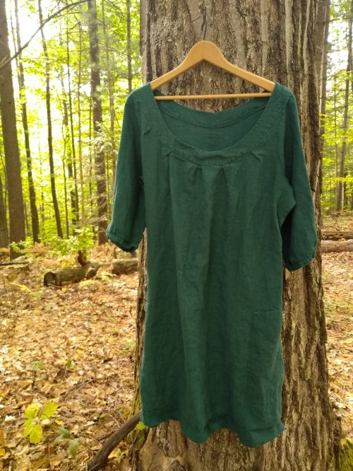 Handmade Wardrobe:  self-drafted linen dress from a hand dyed,thrifted linen table cloth